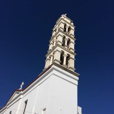 Blue sky & an old Church in Tinos