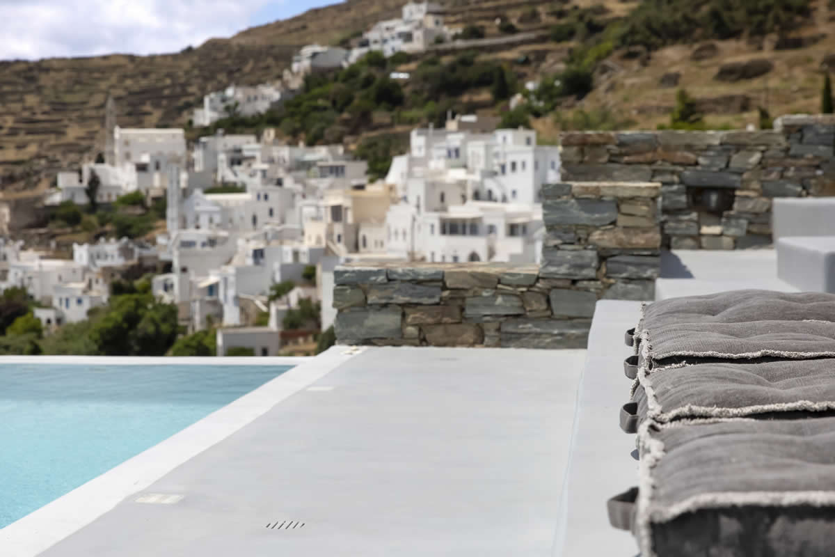 """Villa """"G"""" in Tinos, Cyclades, grants awe-inspiring views from a private swimming pool and a fresh, airy ambiance from every distinct spot"""